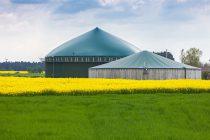 planta de biogas en un prado verde