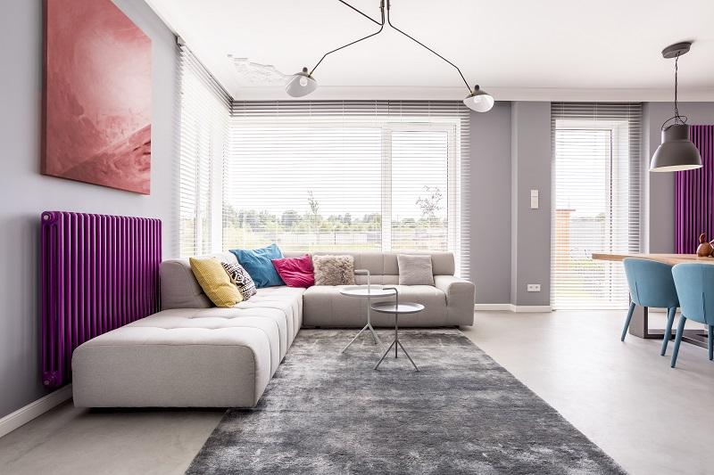 Salón de diseño con radiadores de gas natural