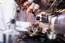 Grupo de chefs preparando comida con fogones de gas natural