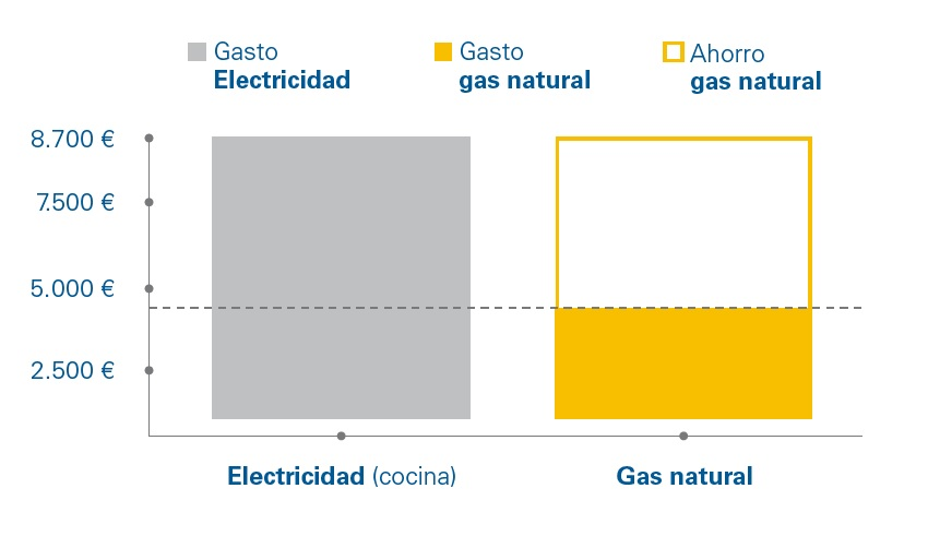 Ahorro comparativo gas natural vs electricidad