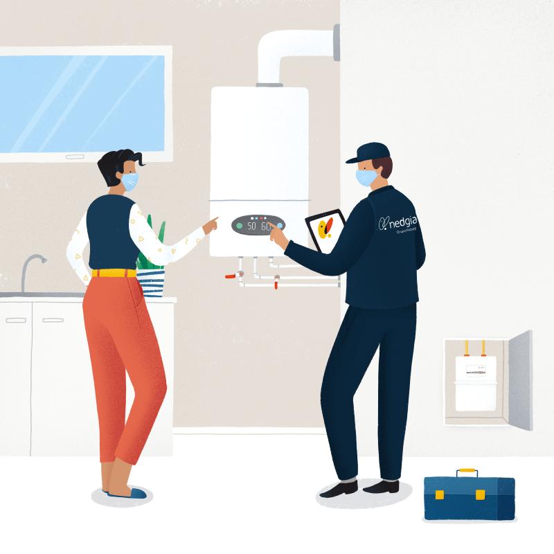 Inspección periódica de gas natural, seguridad, mascarillas