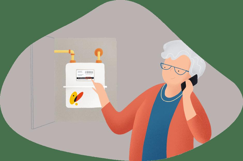 Mujer mayor llamando por teléfono lectura de contador