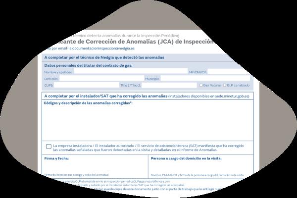 Justificante corrección anomalías JCA