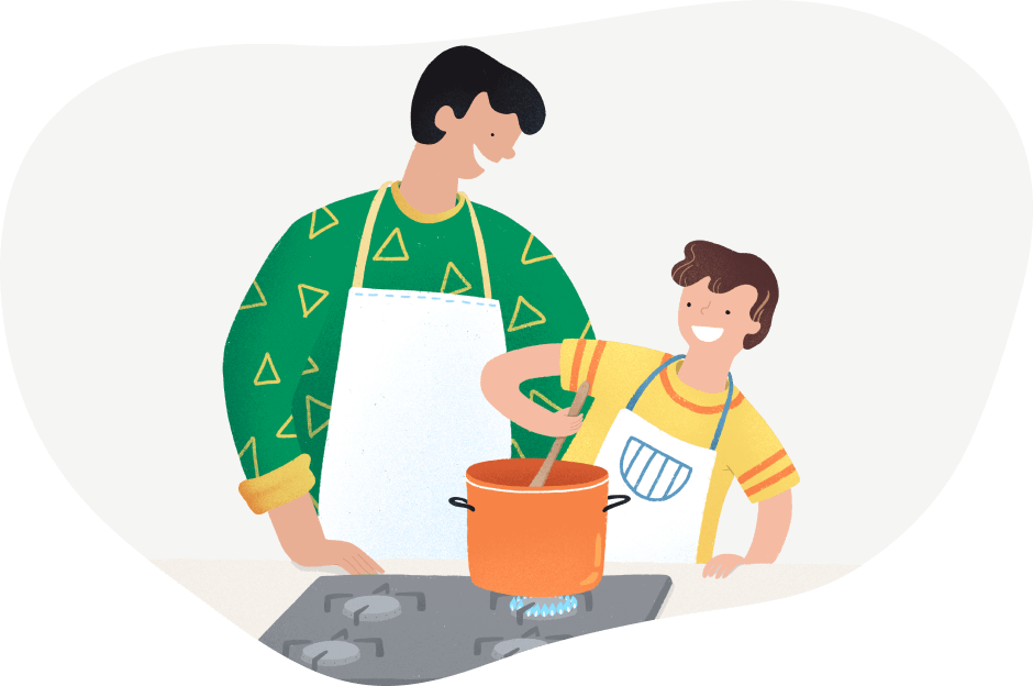 padre e hijo cocina gas natural seguridad