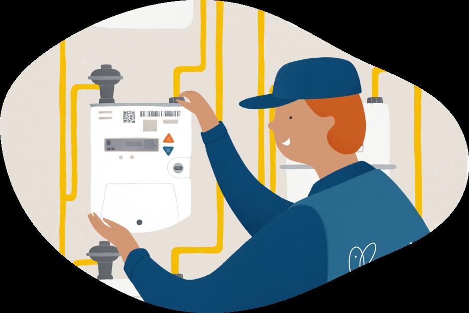 Operario colocando contador gas natural