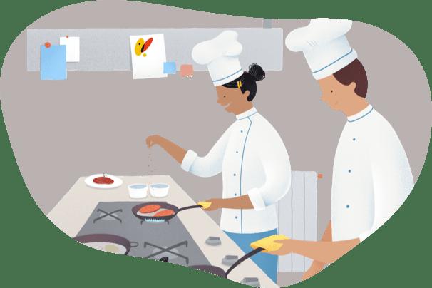 cociñeiros traballando con gas natural
