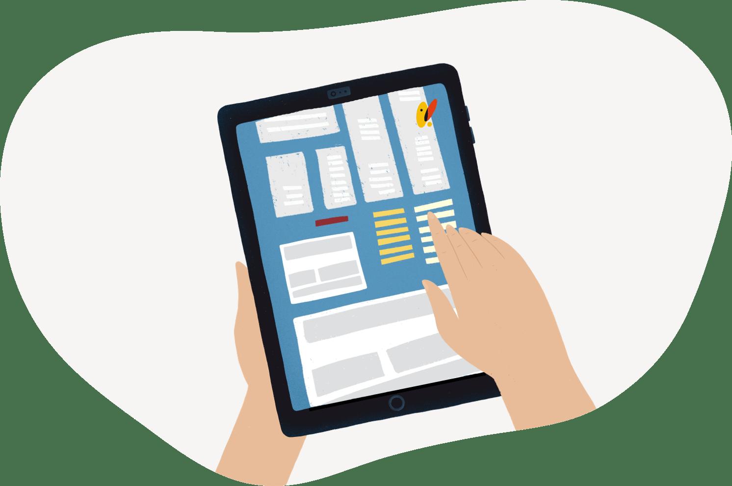Consultando web de Nedgia en la tablet
