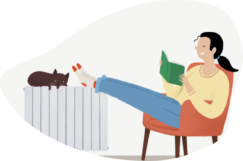 calefacción gas natural, ilustración chica leyendo con los pies en el radiador